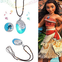 Wholesale Cosplay Asian - Princess Moana Necklace Glowing Music Cosplay Heart of Te Fiti Girl fashion jewelry,new piercing 925 silver 18inch necklace for women men