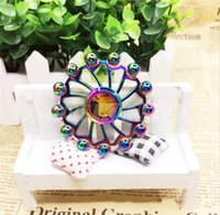 Wholesale 13 Steel Wheels - Alloy Rainbow Colorful Ferris wheel 13 Beads Round Steel Ball Hand Spinners Decompression Toys Spiral DHL free shipping