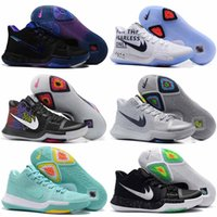 Wholesale Crossover Tie - Newest Kyrie 3 Irving Glod Tie Dye Bhm Men Basketball Shoes Black Ice White Chrome Crossover Huarache Cavs Kyrie Irving 3s Sports Sneakers