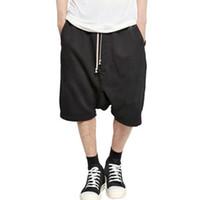 oğlan kaya giysileri toptan satış-Toptan-2016 Yeni Siyah Şort Kanye West Serin Sweatpants Mens Tulum HIPHOP Kaya Sahne Kentsel Giyim Owens Elbise Harem