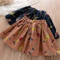 Wholesale Girls Tweed Dress - Fashion Korean Printed Girl Dress Girls Skirts Pleated Kids Skirt Princess Dresses Kids Clothing Child Clothes Kids Wear A976