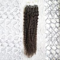 Wholesale extension human hair curly micro - Brazilian virgin hair 100s afro kinky curly micro loop human hair extensions Natural Color 100g curly micro bead hair extensions