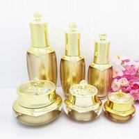 Wholesale Gold Cosmetics Skin Care - High quality empty cosmetic conainer , skin care lotion cream pump bottle gold crown face cream luxury acrylic pot