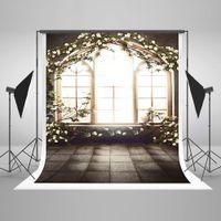 fond de photos en intérieur achat en gros de-5x7ft (150x220cm) intérieur fenêtre photographie arrière-plans blanc fleurs printemps toile de fond pour mariage photo photographique