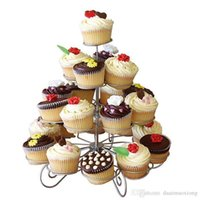 Wholesale Wholesale Cake Tier Stand Holders - 23 Cups European-style Multifunction Christmas Tree Shape Birthday Party Cup cake Stand Iron 4 Tier Cake Stand Holder WN0296