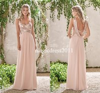 Wholesale Brown Junior Tops - 2017 Modern Jasmine Cheap Bridesmaid Dresses Rose Gold Sequins On Top Chiffon Skirt Sleeveless A Line Sweetheart Junior Bridesmaid Dresses