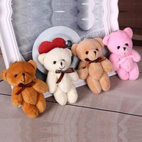 Wholesale Wholesale Easter Teddy Bears - 2017 new 11cm 4 inches Kids Plush pendant bow tie Bear pendant Lovers Stuffed Animals figure birthday present Plush dolls gift toys C2076
