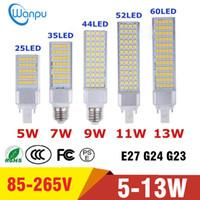 lâmpada do projector venda por atacado-Lâmpadas de LED E27 G24 G23 LEVOU Milho Lâmpada Lâmpada SMD 5050 Holofotes 180 Graus AC85-265V Luz Horizontal Plug