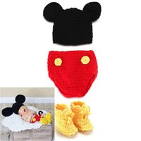 Wholesale Crochet Shoe Designs - Photography Props Design Crochet Baby Hats Pants Shoes Set for Photo Props Knitted Newborn Baby Clothing Set Crochet BABY Costume BP013
