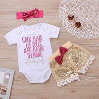 Wholesale Hot Girl Leg - Mikrdoo 2017 Summer Girl Hot Clothes Set Sequins Newborn Baby Sippy Cups Crib Hair Leg Rolls Romper Shorts Headband 3PCS Kids Cotton Outfits