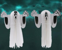 Wholesale party ball props online - Halloween Party Decorations Hangning Ghost For Home Wall Ornaments Halloween Decoration Honeycomb Ball Horror Props