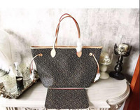 Wholesale Ladies Casual Real Leather Handbags - classic fashion hot sale woman female lady letter real leather flower grid pattern shopping bag totes big handbag 40995 and 40990