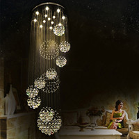 Wholesale Staircase Chandelier Contemporary - Modern Pendant Lamp Chandeliers Crystal Staircase Light Large Crystal Light Crystal Ceiling Light Staircase Stairs Foyer Ceiling Lamp