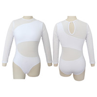 Wholesale Mesh Long Sleeve Leotard - Cotton Lycra Artistic Gymnastics Leotard with Mesh Long Sleeve and Body for Ladies and Girls Training Ballet Dance