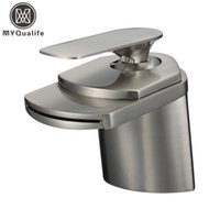 Wholesale Nickel Holder - Wholesale- Free Shipping Brushed Nickel Basin Sink Faucet Deck Mount Waterfall Hot and Cold Water Bathroom Mixer Taps