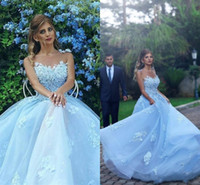 Wholesale baby blue bridal dresses resale online - Baby Blue Sheer Neck Prom Dresses Sexy Lace Appliques A Line Jewel Celebrity Evening Dress Vestidos Tulle Zipper Back Bridal Gowns