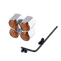 Wholesale Leopard Car Accessories Set - 1 Set Anti-theft Tire Valve Caps with Leopard Print Sign Safety Valve Stem Covers Car-Styling Parts Tyre & Wheel Accessories
