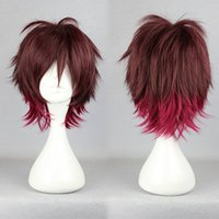 Wholesale Amnesia Wigs - MCOSER Free Shipping 35cm Short Red Ombre Amnesia Shin Halloween High Quality Synthetic Cosplay Wig