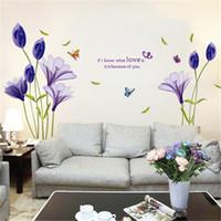 Wholesale Wallpaper Love Flower - Love Purple Lily Flower Removable Vinyl Decal Wall Sticker Mural DIY Art Living Room Decorative Home Decor Wallpaper 60*90cm
