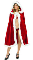 Wholesale Santa Costumes Woman - Christmas Cape for Women Christmas Clothing Adult Sexy Long Christmas Costume Santa Claus Hooded Cloak Costume Red