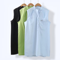 Wholesale V Neck Sleeveless Button Blouse - Plus Size Sleeveless Shirt for Women 2017 Summer Cotton Solid Women's Long Shirts Stand Large Size Blouse with Pocket Button Zipper