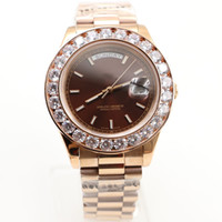 Wholesale Diamond Top - Top Quality Mens Watch Big Diamonds Day-Date 18K Rose Gold Stainless Steel Perpetual Automatic Mechanical Sapphire Glass Men Wristwatch