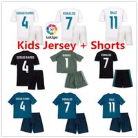 Wholesale Lavender Sets - Kids SERGIO RAMOS RONALDO KROOS BALE ISCO NAVAS Real Madrid Sets Home Away Third Blue 17 18 Soccer Jerseys Uniforms Kit Best Quality