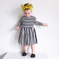 Wholesale Chiffon Long Dress Bowknot - 2017 New Girl INS stripe Princess Dress New Children cartoon ins letters bowknot Long sleeve dresses kids clothes B001