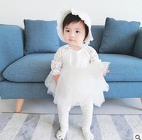 Wholesale Infant Ruffle Hat - Baby girls lace dresses sets Ins toddler kids lace splicing tulle tutu princess dress+hat 2pc clothing set Infant brithday party dress T0400