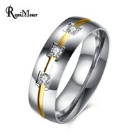 Wholesale Fashion Brand Wedding Ring Men Jewelry Stainless Steel Zirconia Anel Finger Rings Punk Silver Bague Homme Ringen New