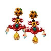 ingrosso annata di lampadario in boemia-New Colorful etnico Bohemian Chandelier lungo orecchini nappa per le donne di moda grande marchio di gioielli d'epoca