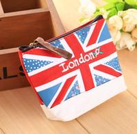 Wholesale British Money - Zipper British England style Canvas Money Purse Wallet Key Bags Cell Mobile Phone Pouch Pouches Case 10Pcs set free ship