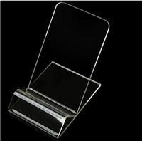 пластиковый телефон подставки оптовых-Универсальный акриловый сотовый телефон мобильный телефон Дисплей Стенды Держатель подставка Для iphone / Samsung / HTC Clear Прозрачный жесткий пластик ПК Kickstand