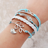Wholesale Youth Bracelets Wholesale - Sky Ramification No.Eight Birds Charm bracelet for youth pulseras mujer PU leather bracelet jewelry paracord bracelet infinite