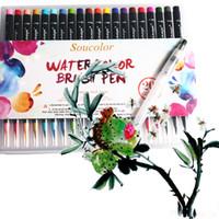 Wholesale Pen Best - 20Color Premium Painting Soft Brush Pen Set Watercolor Art Copic Markers Pen Effect Best Coloring Books Manga Comic Calligraphy