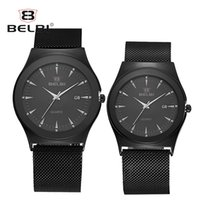 Wholesale Wholesale Gold Watches China - Business Couple Watches Fashion Ultra-thin Steel Milan Band Men Women Watches 3 ATM Water Resistant Quatz Date Watches China Brand BELBI