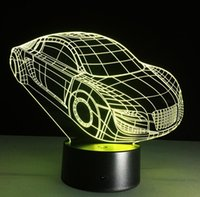 Wholesale Led Car Table - Birthday Gift 3D car shaped Night light LED 7 Colors Change Touch bedside acrylic table lamp