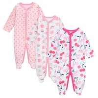 Wholesale Baby Clothes Packs - Baby Girls 3 Pack Sleepers Long Sleeve Cute Printing Round Neck Romper Spring Winter Children Clothes