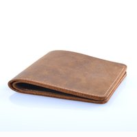hanche de cheval achat en gros de-Custom New 2017 Super Thin Mens Slim Wallet Leather Genuine Crazy Horse Leather Wallet Hommes Personnalisé Nom Porte-carte Porte-monnaie court pour homme