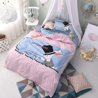 Wholesale Pink Stripe Twin Comforter - Pink Striped Animal Rabbit 100% Cotton Comfortable Twin Comforter Sets Dovet Covers Bed Sheets Pillow Sham Children Teen Gifts Bedroom Decor