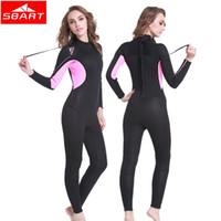 Wholesale Neoprene Swimming - SBART 2017 New 3MM Neoprene Full Body Wetsuit Women winter Warm long sleeve One piece suits Surfing Diving Suit Anti-UV Diving Swim Wear