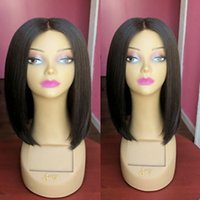 Wholesale Silk Top Bob Lace Wig - Silk Base Full Lace Wigs BOB Short Silk Top Lace Front Wigs Unprocessed Virgin Brazilian Human Hair Natural Hairline For Black Women