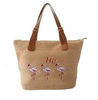 Mulheres Summer Beach Sea Crochet Straw Handbag Casual Vintage Retro Flamingo Embroidery Leather Strips Stachel Tote Bags