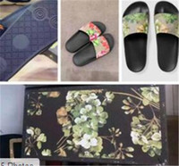 Wholesale Flat Leather Sandals For Women - WITH BOX 2017 Hot Fashion slide sandals slippers for men and women Designer flower printed unisex beach flip flops slipper BEST QUALITY