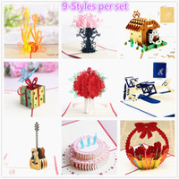 Wholesale Pack Wedding Invitation Cards - 9-Packed birthday party supplies laser cut birthday invitations 3d greeting card gifts card pop up cards wedding congratulation cards