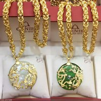 Wholesale Jade Dragon Pendant Jewelry - Fashion NEW Style Hot Selling Beautiful Jewelry White Green Jade Gold Dragon Amulet Pendant Necklaces Chain - Free Shipping + Free Gift