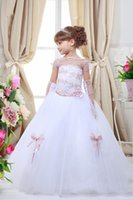 Wholesale Pagaent Dresses - Off The Shoulder Blush Pink Lace Appliques Toddler Ball Dress Flower Girl Dress 2017 Clear Cuted Bow Pagaent Dress