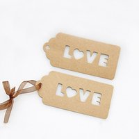 Wholesale Wholesale Cardboard Gift Tags - Wholesale- 10*4.7cm (3.94*1.85'') 100pcs NEW Kraft Paper Tag Valentine's Day LOVE Packing Label For Gift Wedding Labels Cardboard Etiquetas