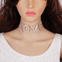 Wholesale European Style Collar Necklace - 2017 New Romantic European Style Shinning Rhinestones LOVE Shape Women Fashiion Chain Necklace Chocker Collar Accessories 0203