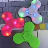 Wholesale Best Speaker Led Lights - Best New LED Light Bluetooth Speaker Music Fidget Spinner Finger ABS EDC Hand Spinner Tri For Kids Autism ADHD Plastic Hand spinner